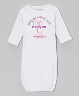 White & Pink Personalized Gown - Infant