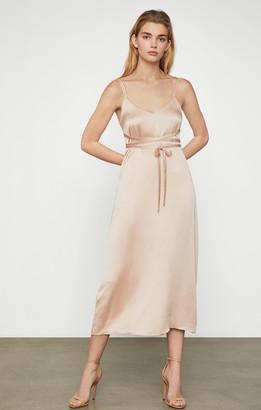 BCBGMAXAZRIA Tied Satin Midi Dress