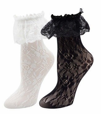 Lovful Women's Lace Anklet Sock with Ruffle 2 Pairs Set - black - Medium