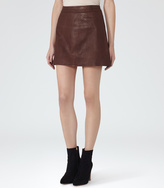 Reiss Amira LEATHER MINI SKIRT