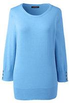 Lands' End Women's Supima Cotton 3/4 Sleeve Sweater-Pink Sapphire Argyle