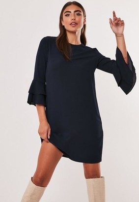 Missguided Navy Frill Sleeve Shift Dress
