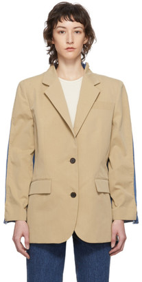 pushBUTTON Beige and Blue Mixed Fabric Blazer