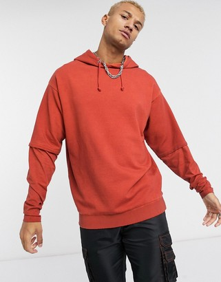 Asos Design DESIGN oversized double layer hoodie in washed red