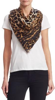 Saint Laurent Leopard Cashmere & Silk Scarf