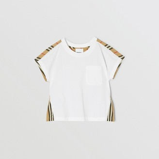 Burberry Childrens Icon Stripe Panel Cotton T-shirt