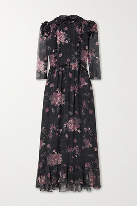 LAURA GARCIA Nicolette Ruffled Floral-print Silk-chiffon Midi Dress - Black