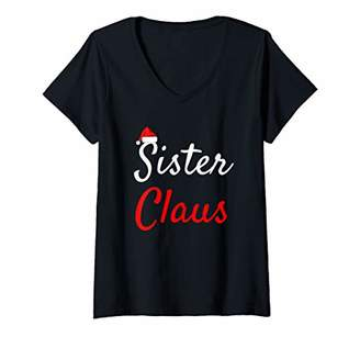 Womens Sister Claus Shirt Daddy Claus Baby Claus Mama Claus Pajamas V-Neck T-Shirt