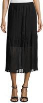 Magaschoni Pleated Chiffon Midi Skirt, Black