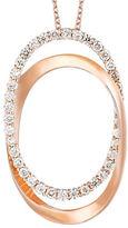 LeVian Vanilla Diamond and 14K Strawberry Gold Oval Pendant Necklace- 0.65 TCW