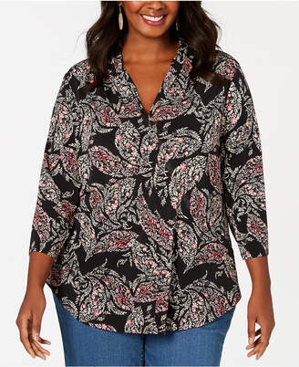 Charter Club Plus Size Paisley Knit Top