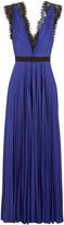 Catherine Deane Griffin lace-trimmed plissé-satin gown