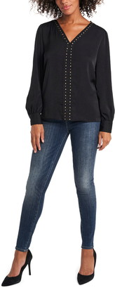 Vince Camuto Studded Long Sleeve Rumple Top