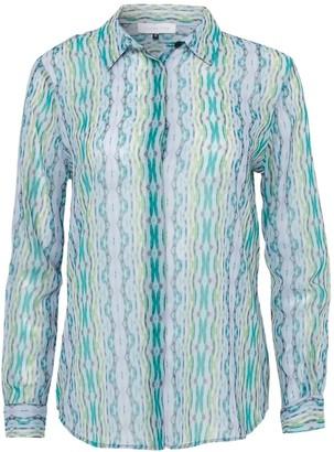 Silver Pink Oriental Tides Print Shirt