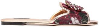 Dolce & Gabbana Leather-trimmed Embellished Metallic Jacquard Slides