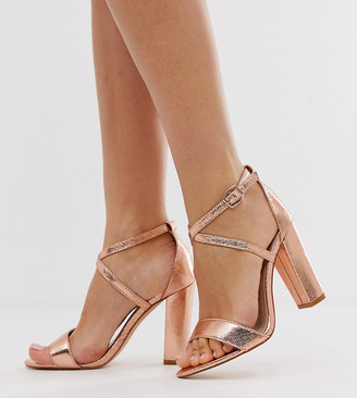 Glamorous Wide Fit cross strap heeled sandals in rose gold