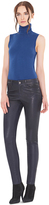 Alice + Olivia Navy Angie Leather 5 Pocket Pant