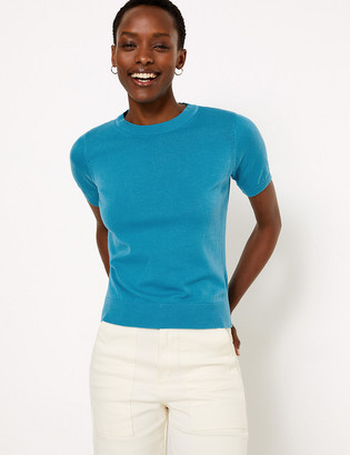 Marks and Spencer Pure Cotton Knitted Short Sleeve Top