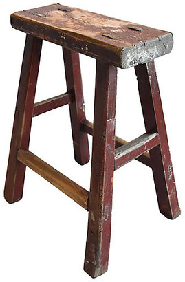 One Kings Lane Vintage Primitive Handmade Elm Farmhouse Stool - red/brown/multi
