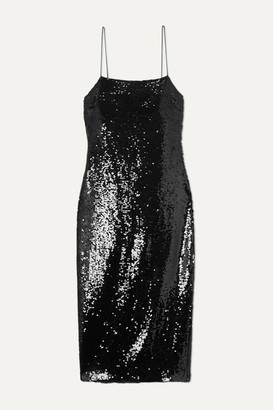 CAMI NYC The Camille Sequined Crepe Midi Dress - Black