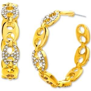 """Steve Madden Gold-Tone Medium Pave Fancy Link Open Hoop Earrings, 1.57"""""""