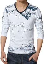 uxcell® Men V Neck Novelty Prints Long Sleeves Slim Fit T-Shirt M