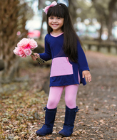 Navy Kangaroo Pocket Tunic & Leggings - Girls