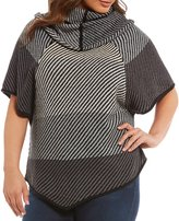 Chelsea & Theodore Plus Cowl Neck Poncho Top