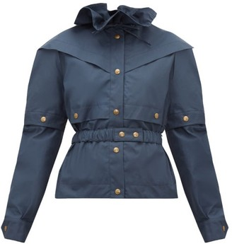 Symonds Pearmain - Ruffled-neck Waxed-cotton Jacket - Navy