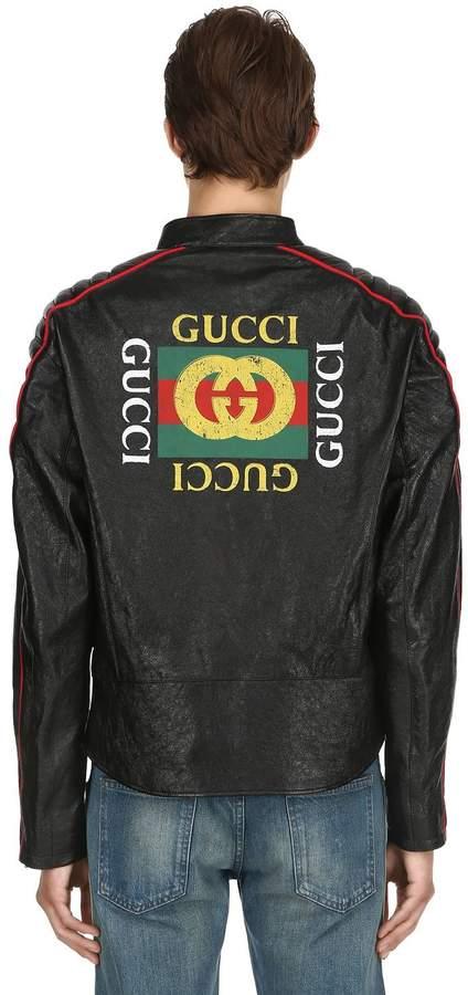 Gucci Logo Printed Leather Moto Jacket