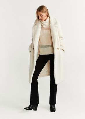MANGO Faux shearling coat off white - XS - Women