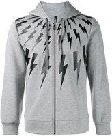 Neil Barrett lightning bolt print hoodie - men - Cotton/Spandex/Elastane/Lyocell/Viscose - XXS
