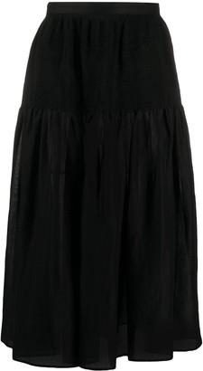Joseph smoked organza A-line midi skirt
