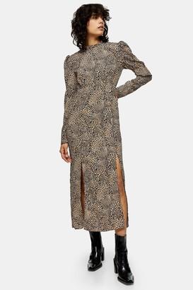 Topshop TALL Animal Sleeve Detail Midi Dress