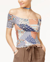 American Rag Juniors' Rodeo Patch Off-The-Shoulder Crop Top, Only at Macy's