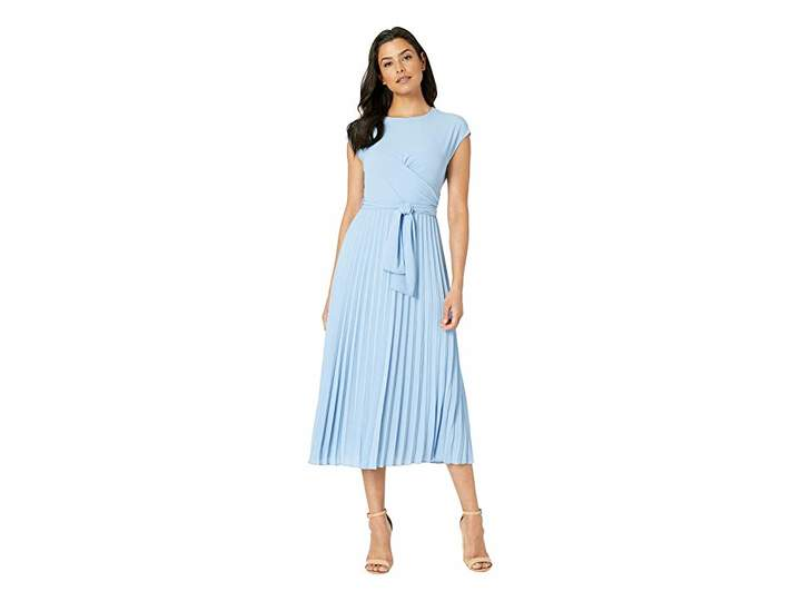 Maggy London Pleated Crepe Fit and Flare Dress