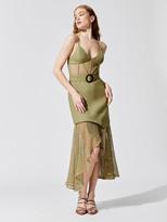 PatBO Mesh And Linen Bustier Dress