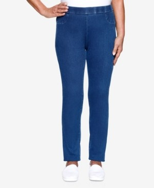 Alfred Dunner Plus Size Lazy Daisy Knit Denim Jeggings