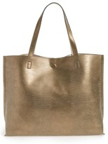 Street Level Reversible Faux Leather Tote - Metallic