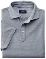Charles Tyrwhitt White and Navy Birds Eye Cotton Polo Size XS