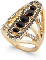 INC International Concepts Gold-Tone Black Stone and Pavé Linear Ring, Only at Macy's