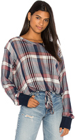 Bella Dahl Tie Waist Plaid Pullover Top in Red. - size L (also in M,S,XS)