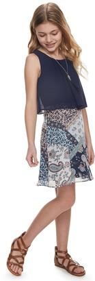 Amy Byer Girls 7-16 & Plus Size IZ Paisley Popover Dress