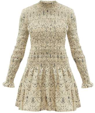 Sachi Sir Floral-print Smocked Linen Dress - Womens - Cream Multi