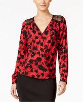 Thalia Sodi Printed Faux-Wrap Blouson Top, Only at Macy's