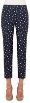 Akris Punto Frankie Polka-Dot Slim-Leg Cropped Pants, Navy/Cream