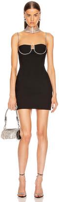 "Area Crystal ""A"" Mini Dress in Black | FWRD"