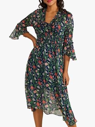 Yumi Poppy Asymmetric Hem Midi Dress, Navy