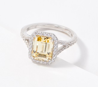 Diamonique Simulated Canary Emerald Cut Ring Sterling Silver