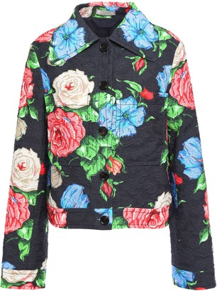 Nina Ricci Floral-print Cotton-blend Cloque Jacket